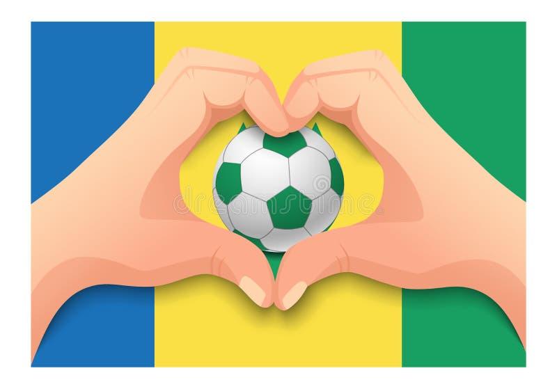 Forme de coeur de ballon de football et de main de Saint-Vincent-et-les-Grenadines illustration libre de droits
