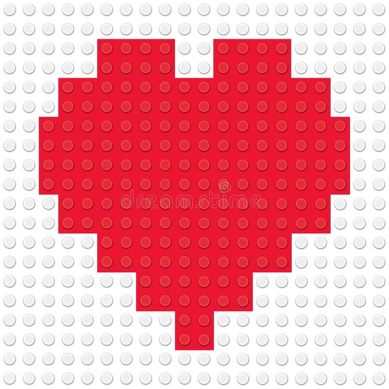 Forme de coeur créée des briques de jouet de bâtiment illustration libre de droits