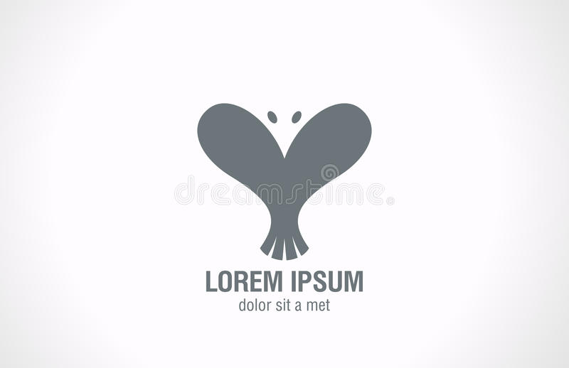 Forme de coeur d'abrégé sur Logo Bird. Desi créatif d'amour illustration stock