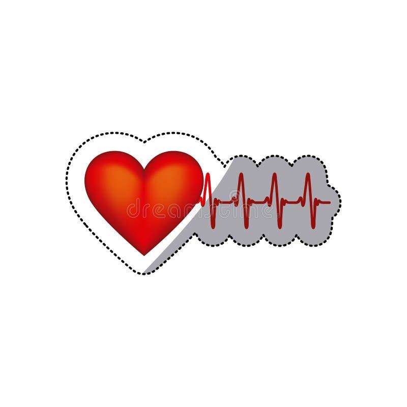 forme de coeur d'autocollant avec des battements et la vie de signes illustration de vecteur
