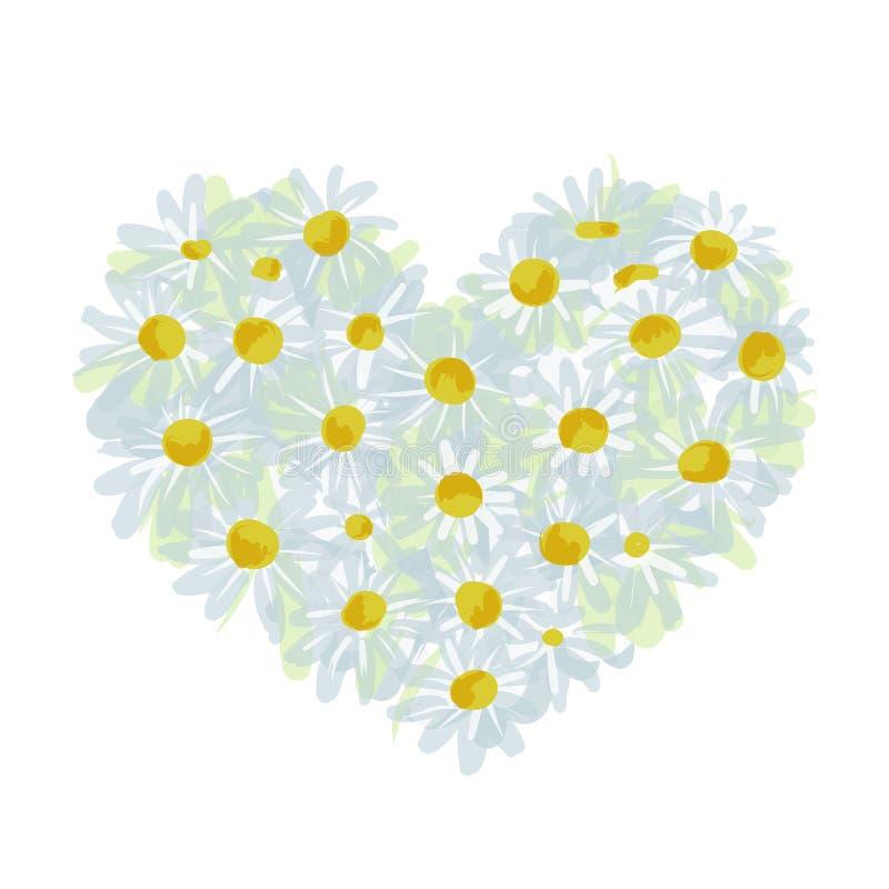 Forme de coeur de bouquet d'été faite à partir de la marguerite, croquis illustration de vecteur