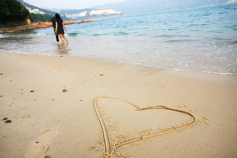 forme de coeur de plage images libres de droits