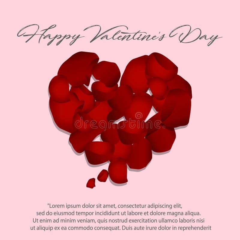 Forme de coeur des pétales rouges sur le fond blanc, illustration de vecteur Jour du ` s de Valentine avec de beaux pétales de ro illustration de vecteur