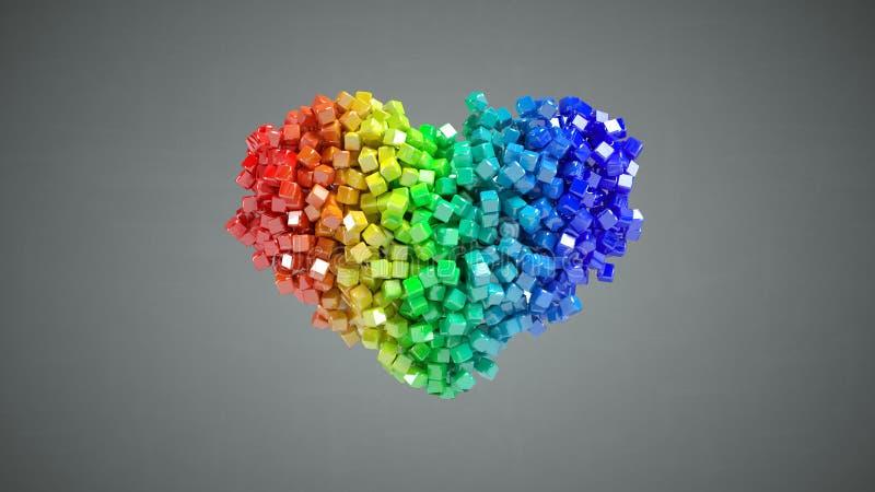 Forme de coeur des particules cubiques multicolores 3D rendre l'illustrati illustration de vecteur