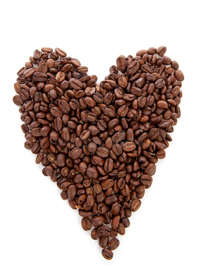 Forme de coeur faite de grains de café photo libre de droits