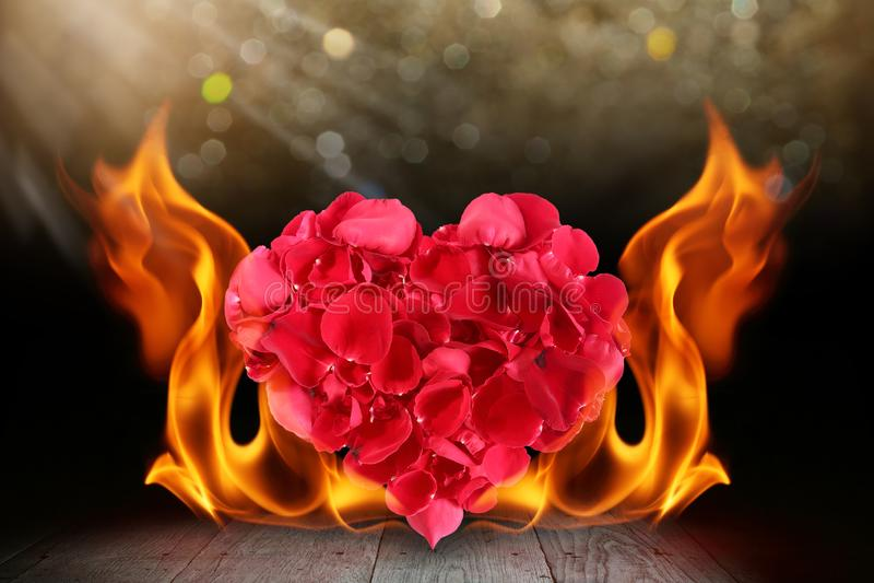 Forme de coeur de p?tales de rose avec la flamme du feu de flamme sur la plate-forme en bois illustration de vecteur