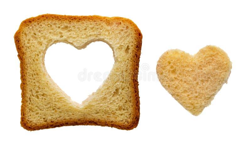 Forme de coeur de pain grillé images libres de droits