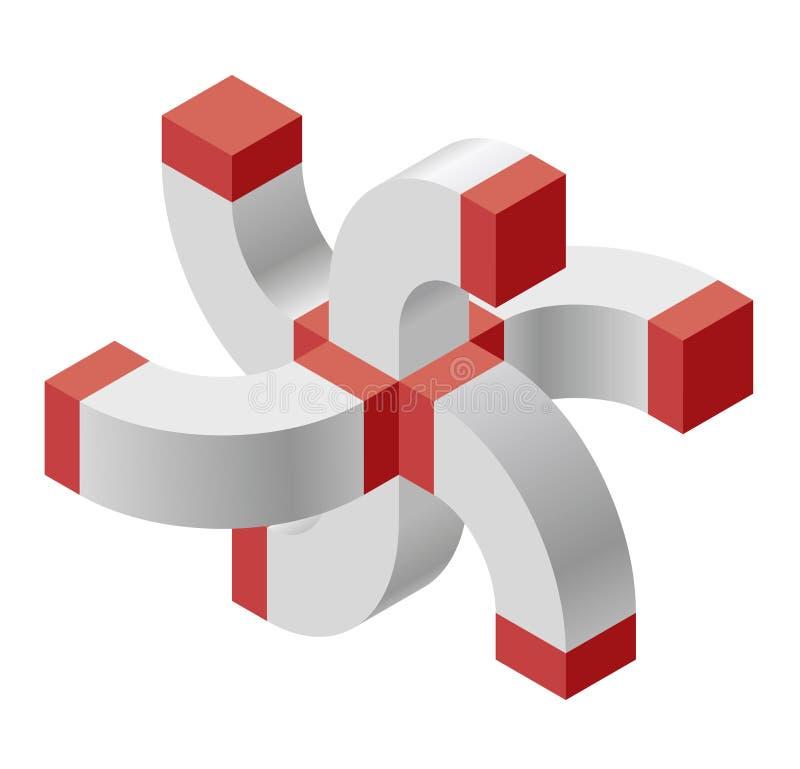 Forme de croix de vecteur de courbure de résumé Marque isométrique rouge d'établissement scientifique, centre de recherche, labor illustration stock