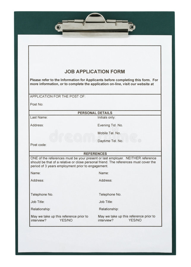 Forme de demande d'emploi photos libres de droits