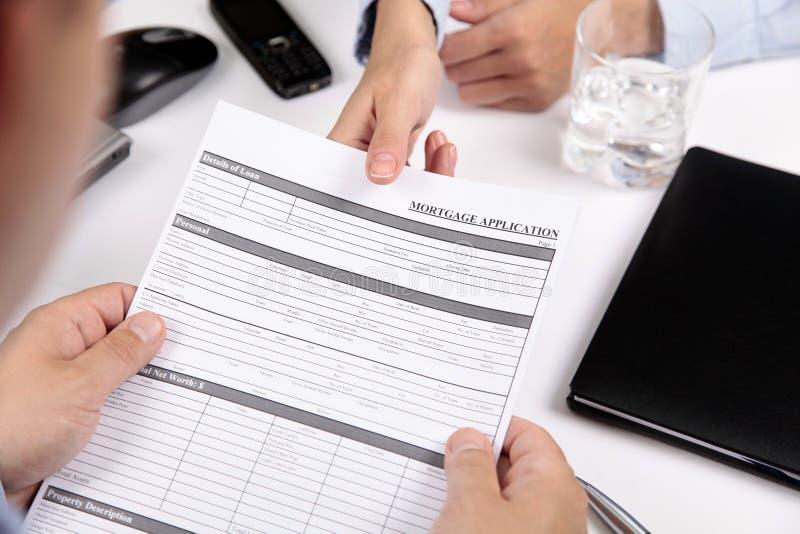 Forme de demande de prêt hypothécaire d'hypothèque images libres de droits