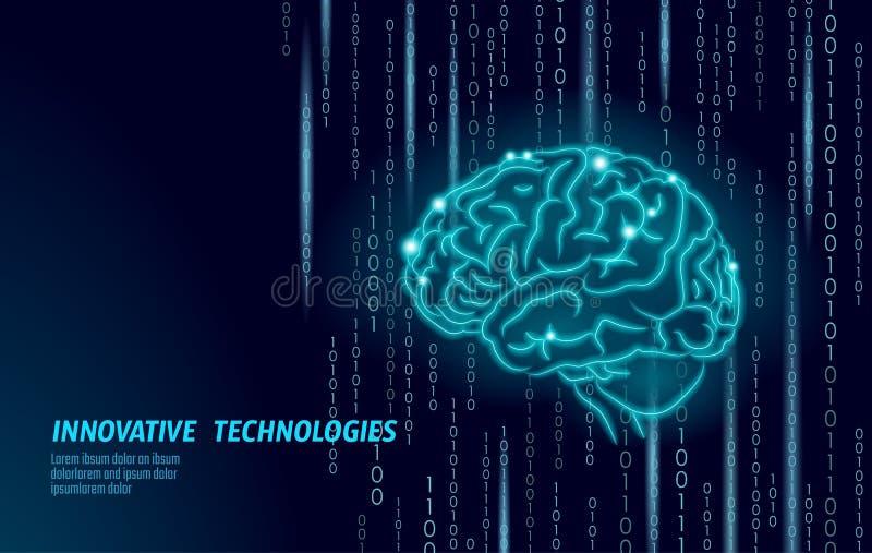 Forme de Digital 3D de l'esprit humain La basse poly ligne polygonale de point de particules géométrique rendent Idée créative d' illustration libre de droits