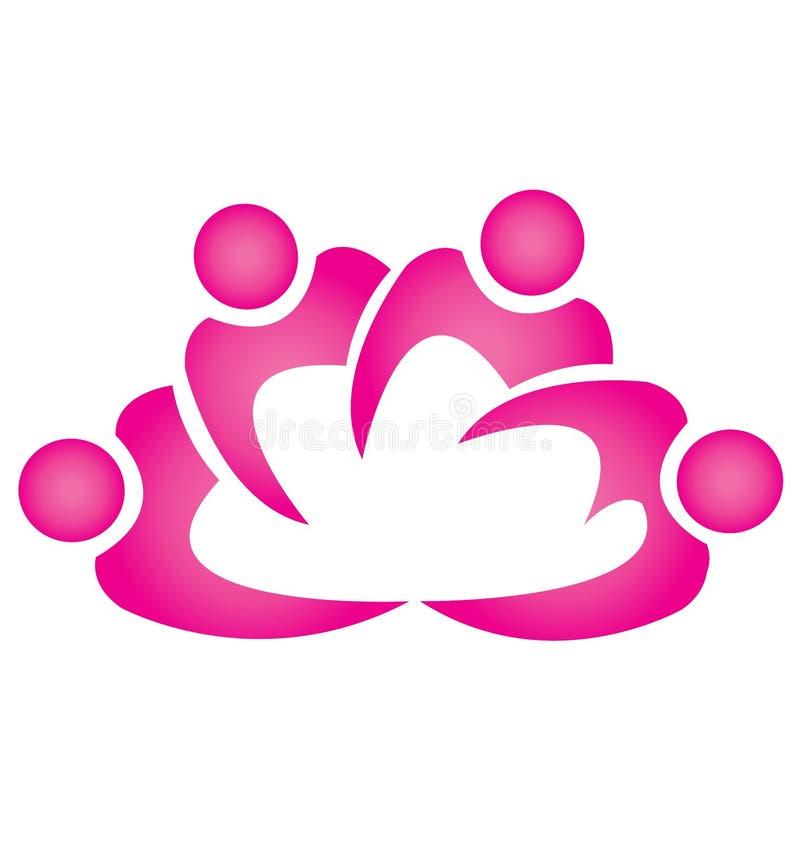 Forme de fleur de lotus de travail d'équipe illustration de vecteur