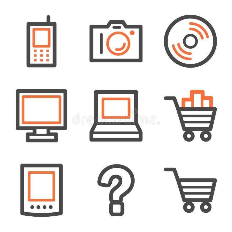 Forme de graphismes de Web de l'électronique, orange et grise illustration libre de droits
