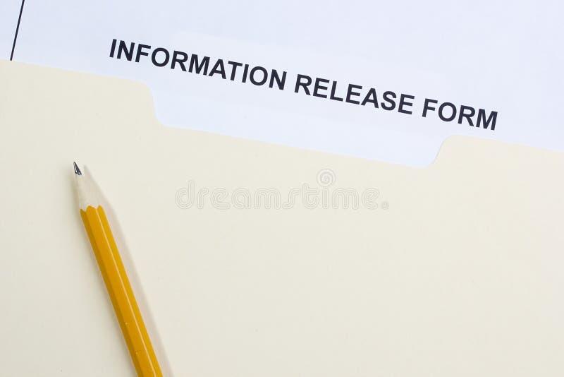 Forme de libération de l'information image stock