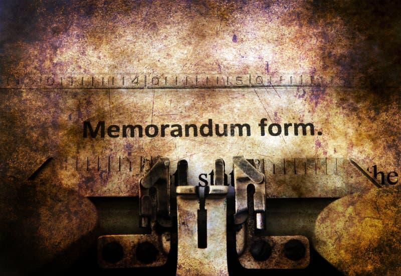 Forme de mémorandum sur la machine à écrire de cru photos libres de droits