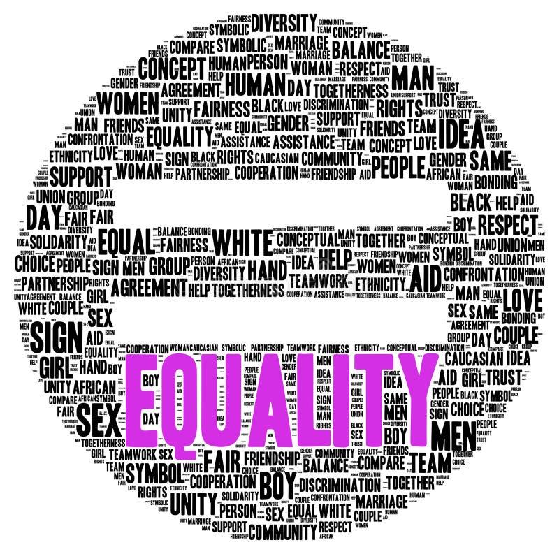 Forme de nuage de mot d'égalité illustration stock