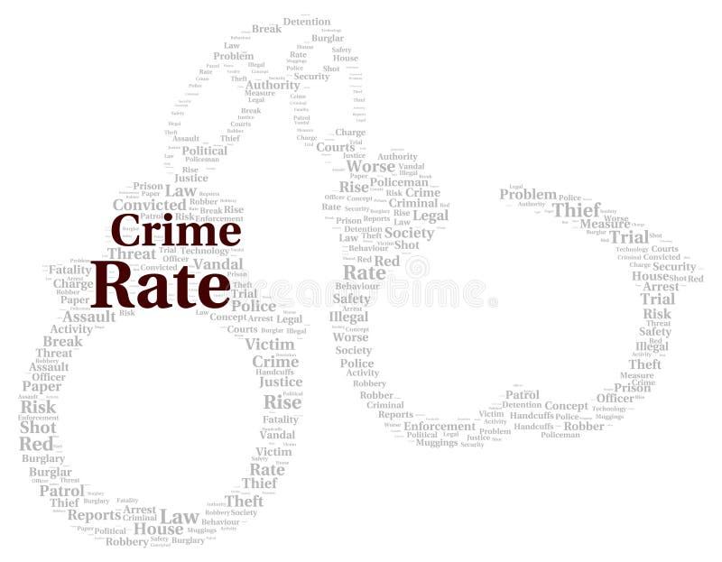 Forme de nuage de mot de taux de criminalité illustration de vecteur