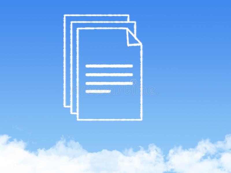 Forme de nuage de document sur papier de bloc-notes photographie stock libre de droits
