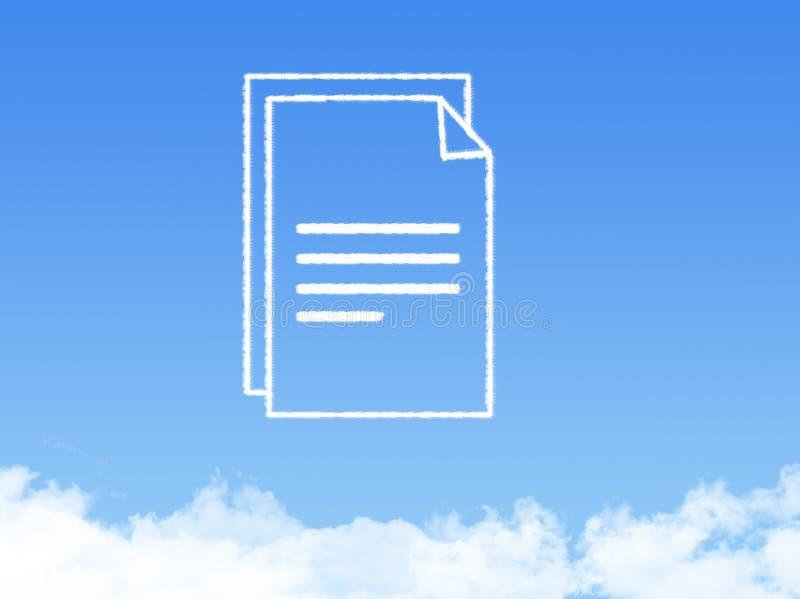 Forme de nuage de document sur papier de bloc-notes photo libre de droits