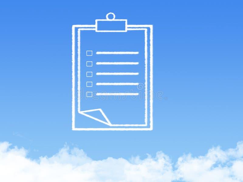 Forme de nuage de document sur papier de bloc-notes images stock