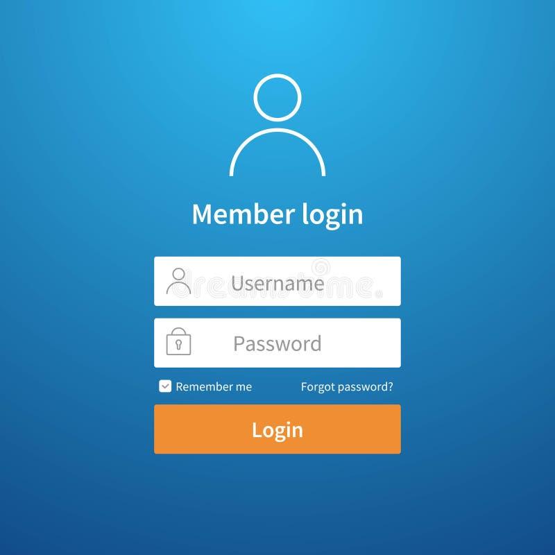 Forme de procédure de connexion Entrée de profil d'interface utilisateurs de registre de page d'écran de compte d'ui de site Web  illustration de vecteur