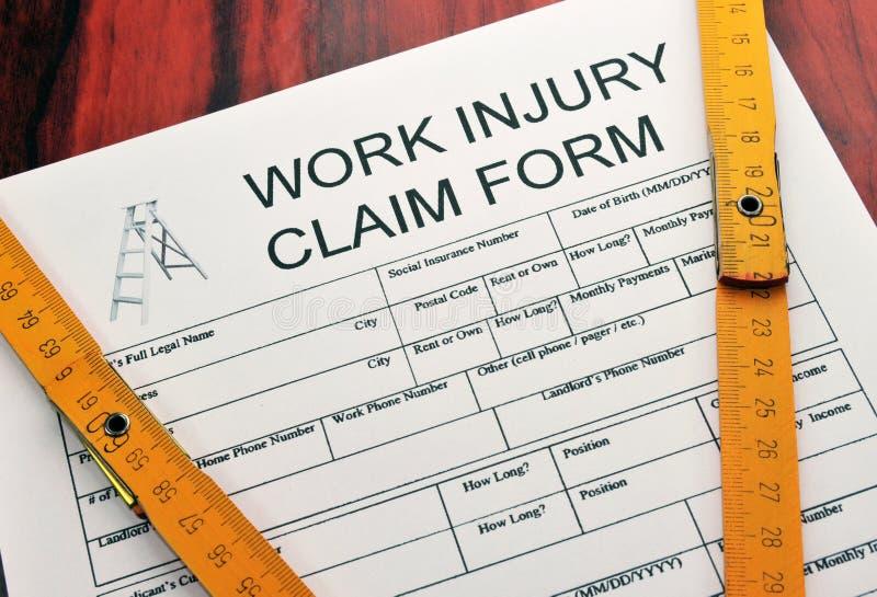 Forme de réclamation de blessures de travail image stock