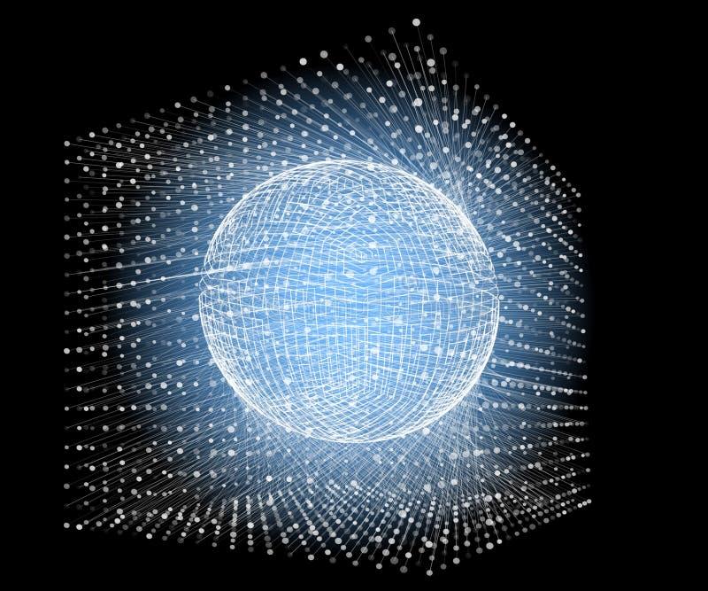Forme de sphère des particules dans la boîte Fond de particules de vecteur illustration libre de droits