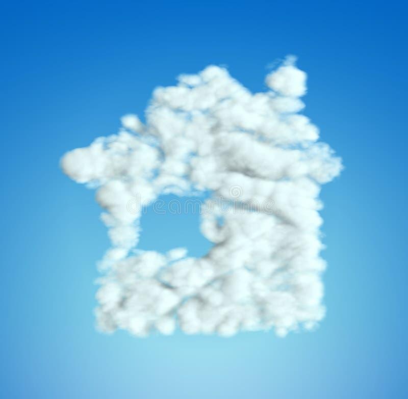 Forme de symbole de Chambre de nuage au-dessus de ciel bleu illustration de vecteur