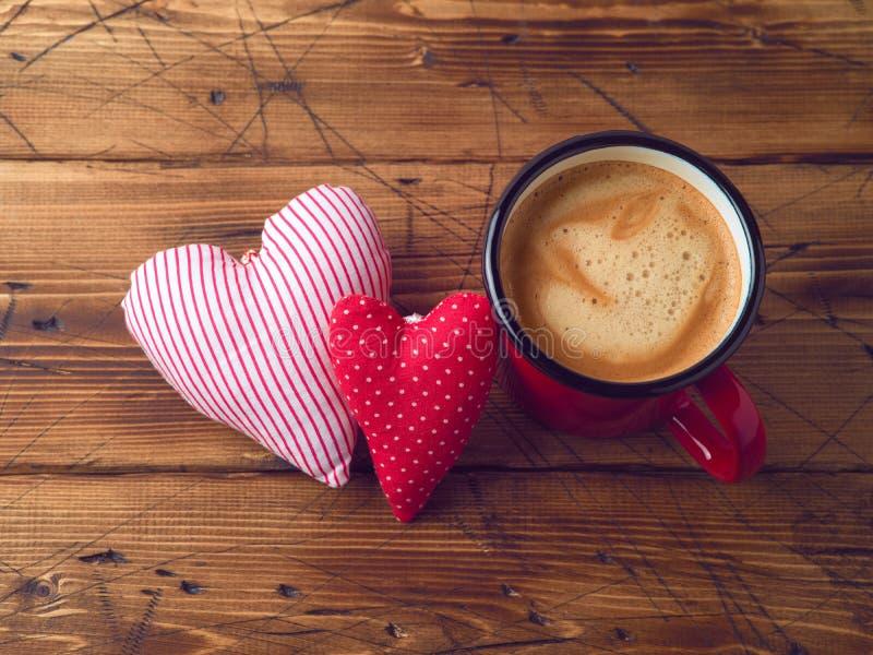 Forme de tasse et de coeur de café image stock