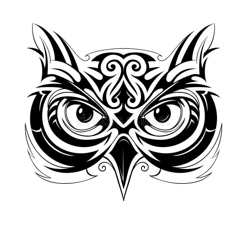 Forme de tatouage de hibou illustration stock