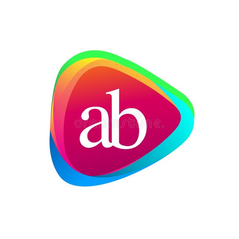 Forme de triangle de la lettre ab et fond coloré photo libre de droits