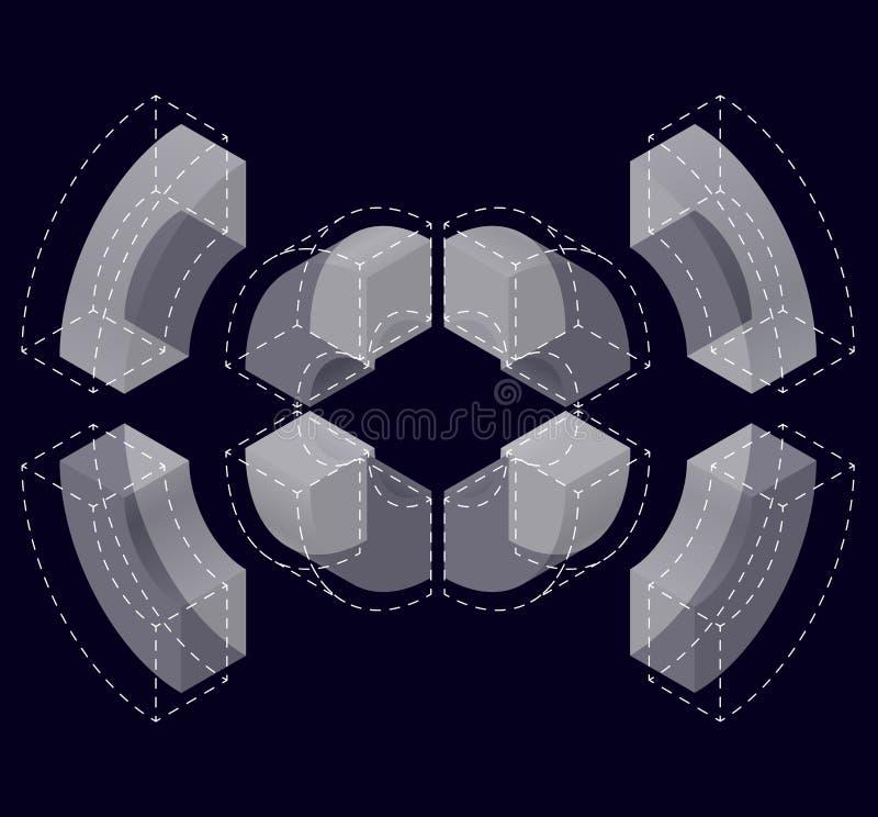 Forme de vecteur de courbure de résumé sur le noir Marque isométrique d'établissement scientifique, centre de recherche, laborato illustration libre de droits