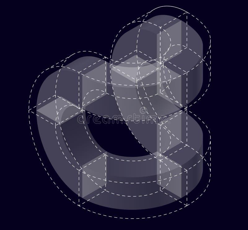 Forme de vecteur de courbure de résumé sur le noir Marque isométrique d'établissement scientifique, centre de recherche, laborato illustration de vecteur