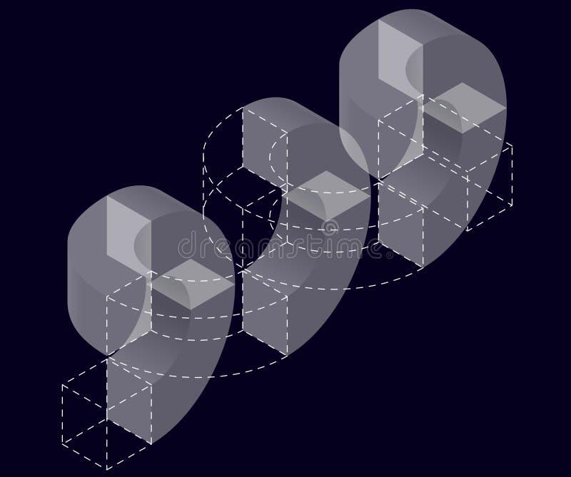 Forme de vecteur de courbure de résumé sur le noir Marque isométrique d'établissement scientifique, centre de recherche, laborato illustration stock