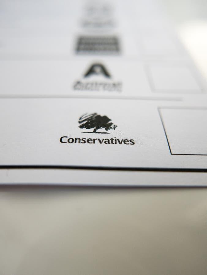 Forme de vote avec le logo conservateur photos libres de droits