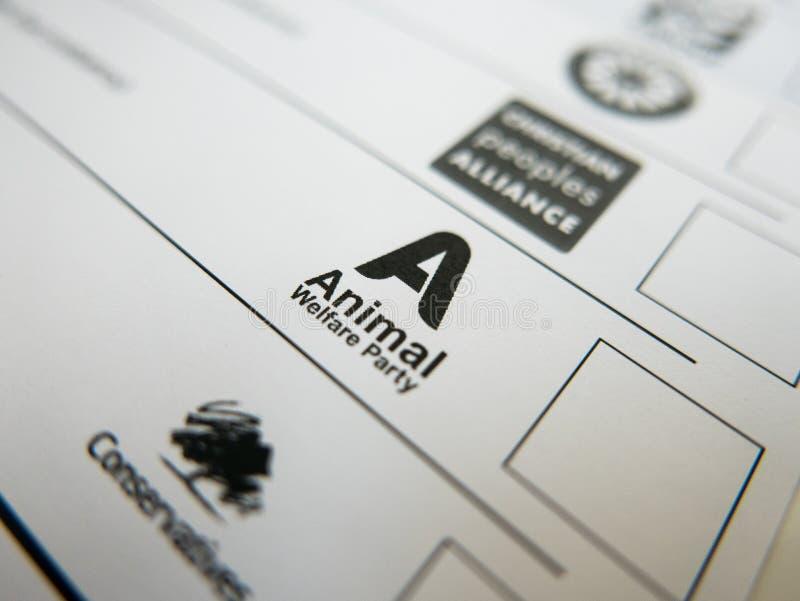 Forme de vote avec le logo de partie de bien-être des animaux image libre de droits