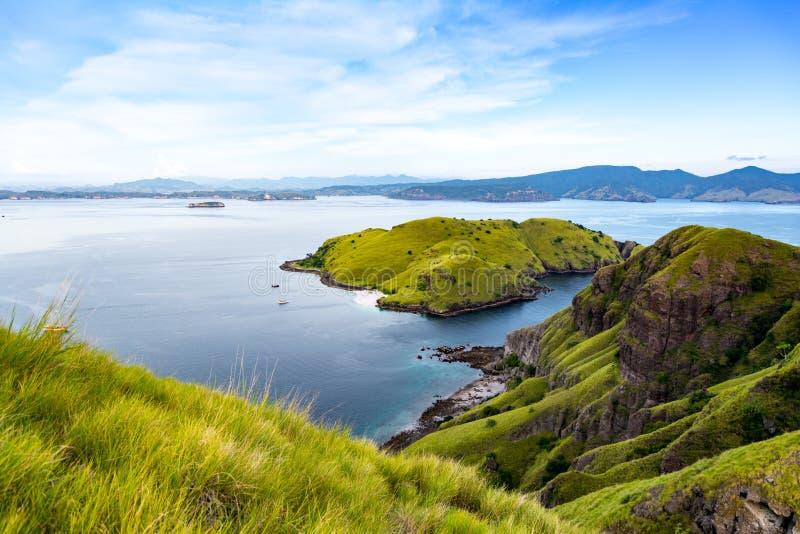 Forme de vue aérienne l'extrémité de l'itinéraire jusqu'au dessus de l'île de Padar photos libres de droits