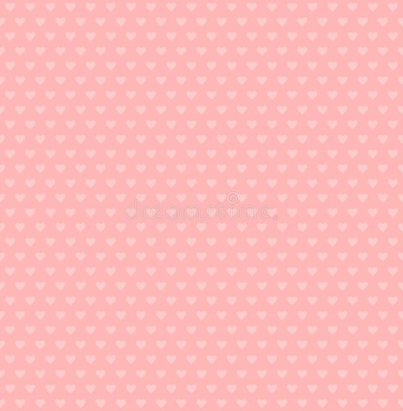 Forme dei cuori di vettore fondo rosa semplice Reticolo senza giunte dei biglietti di S Struttura di nozze illustrazione vettoriale