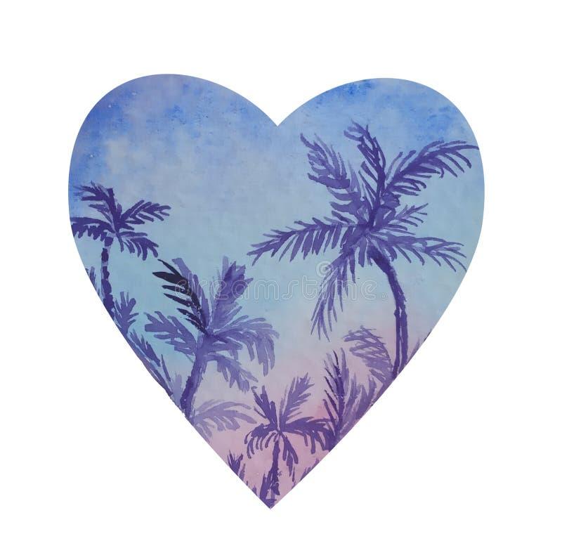 Forme del cuore con l'interno del paesaggio della palma illustrazione di stock