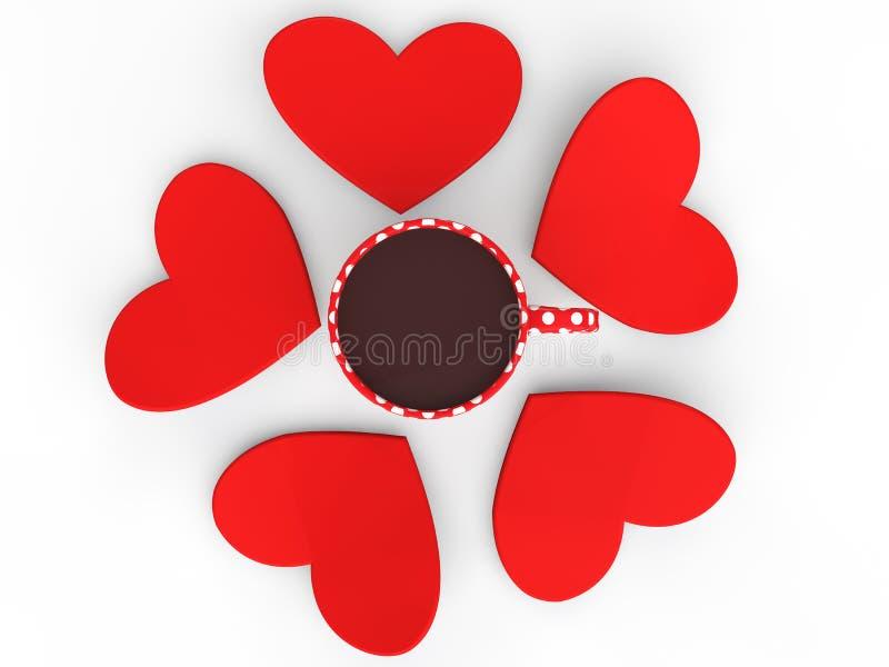 forme del cuore 3d intorno alla tazza da caffè illustrazione di stock