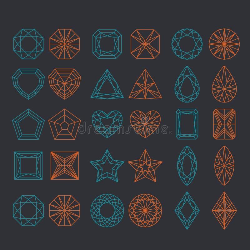 Forme del diamante fissate illustrazione vettoriale