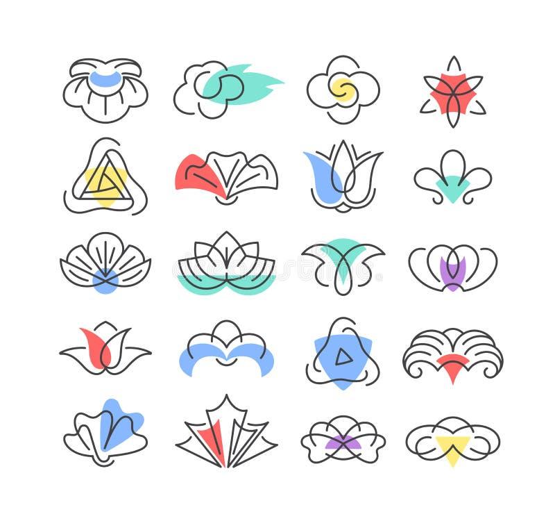 Forme di colore e linea fiori geometrici illustrazione vettoriale