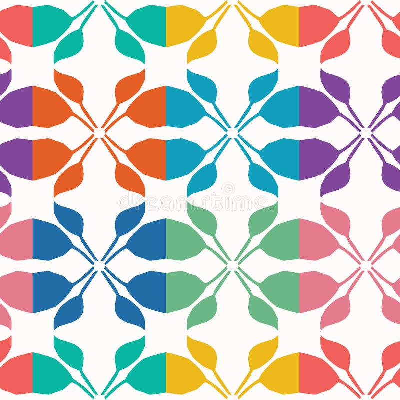 Forme di foglia tagliate astratte Fondo senza cuciture del modello di vettore Illustrazione disegnata a mano del damasco del coll illustrazione di stock