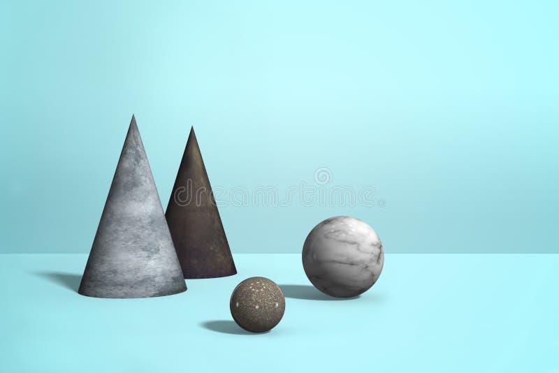 Forme di marmo geometriche del granito - sfere, coni sul fondo blu pastello di colore, composizione realistica astratta nel minim illustrazione vettoriale