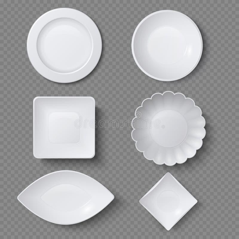 Forme differenti dei piatti dell'alimento, dei piatti e dell'insieme realistici di vettore delle ciotole illustrazione di stock