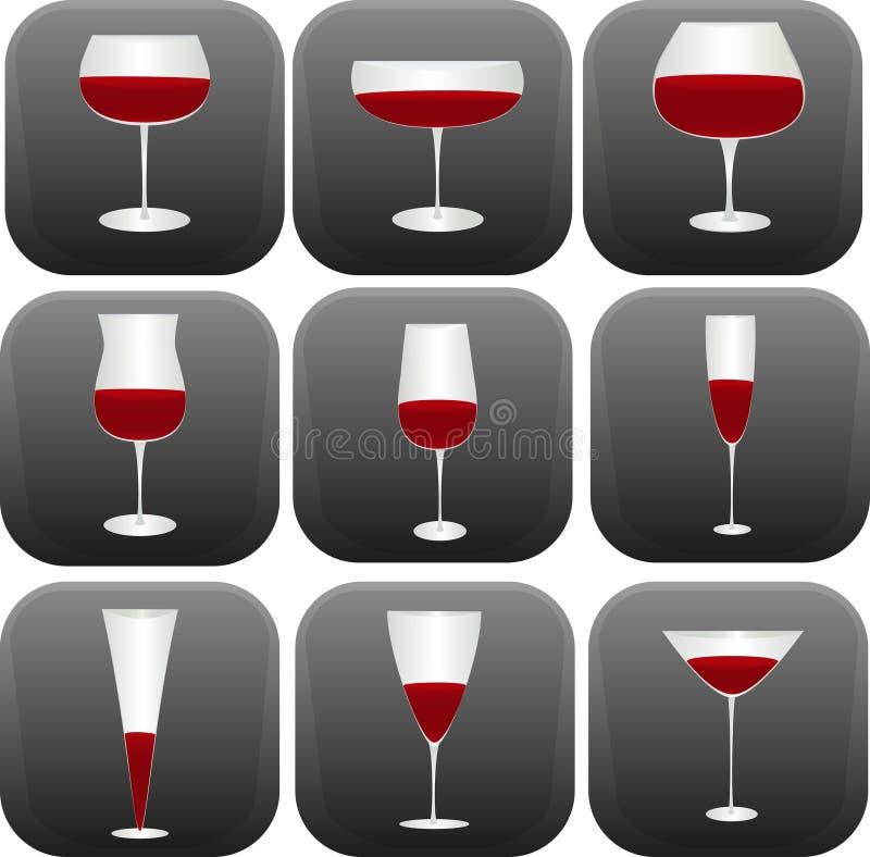 Forme differenti dei vetri di vino fotografie stock libere da diritti