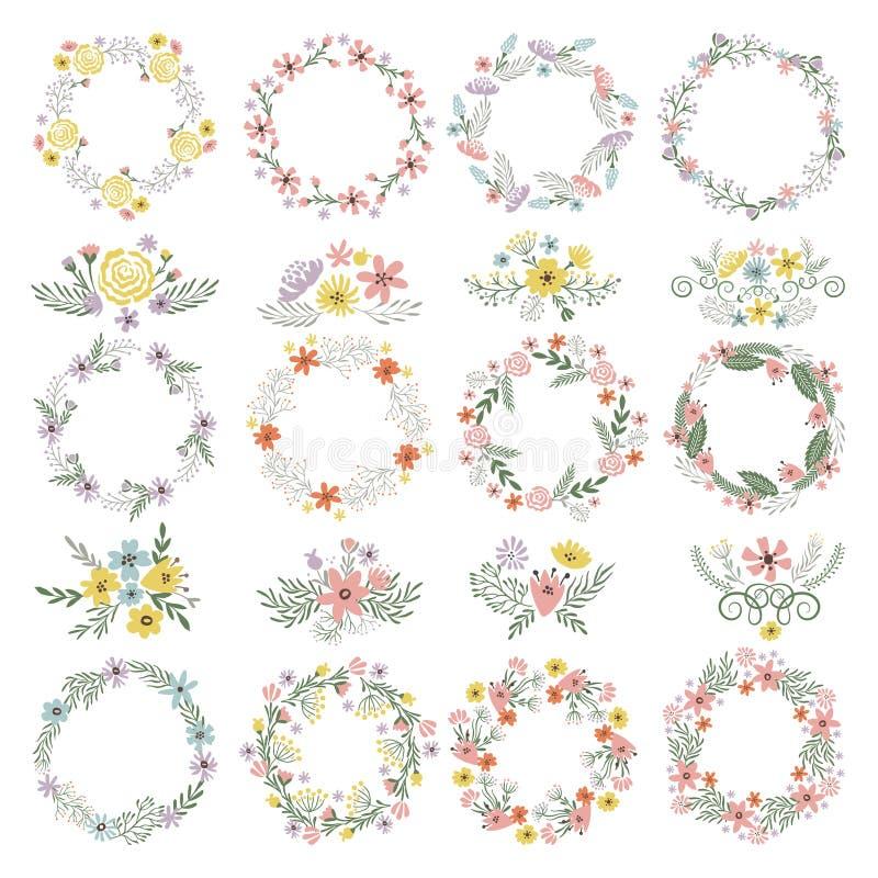 Forme differenti del cerchio con gli elementi floreali Insieme di vettore delle strutture di nozze illustrazione di stock