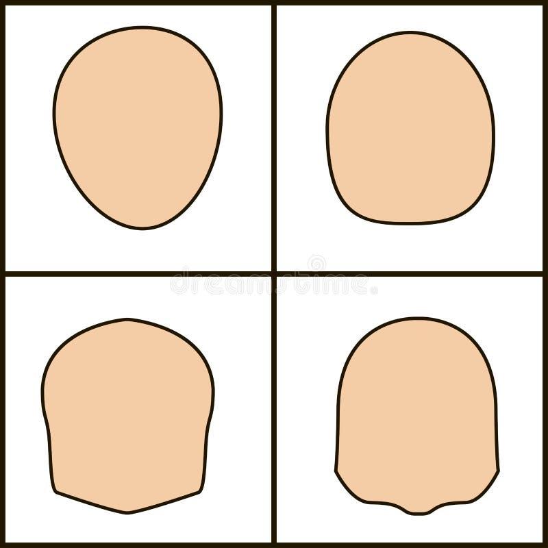 Forme differenti di fronte, icoka di vettore profilo cesellato illustrazione vettoriale