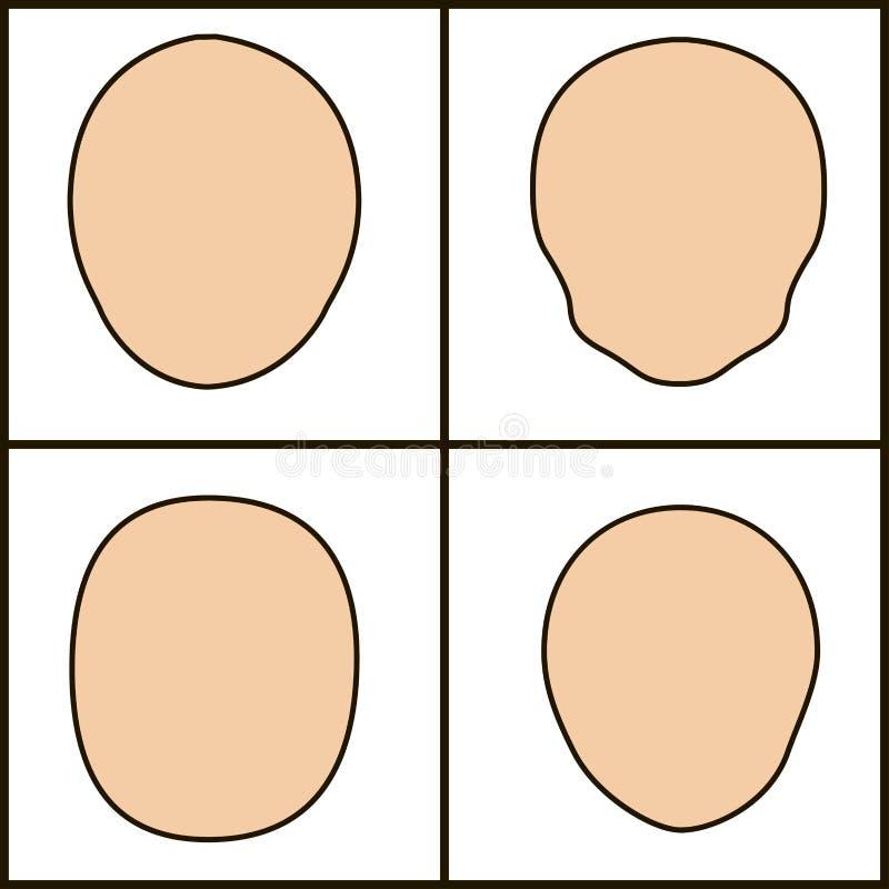 Forme differenti di fronte, icoka di vettore profilo cesellato illustrazione di stock