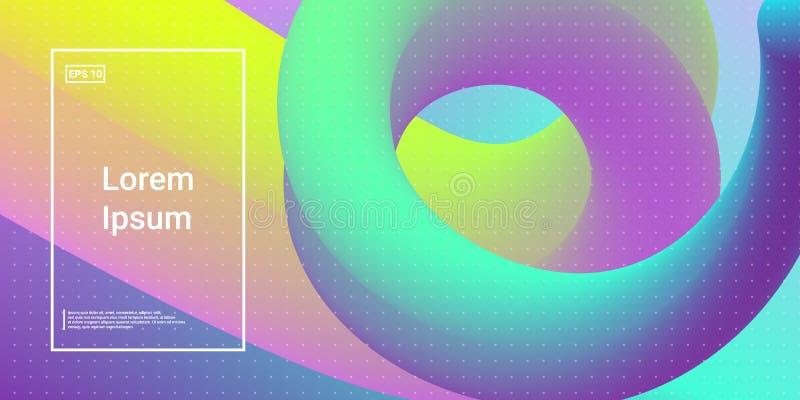 Forme dinamiche moderne minime 3D con effetto di incandescenza di colore illustrazione di stock